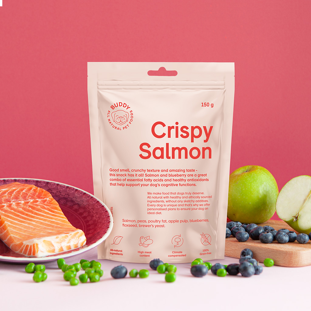 buddy Pet Foods | Hundgodis | Crispy Salmon 150g